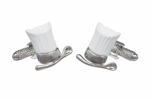 White Chefs Hat and Spoon Cufflinks